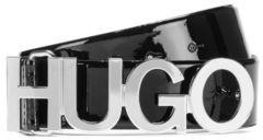 HUGO BOSS Logo-buckle belt in patent Italian leather