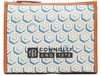 Connolly - Leather Trimmed Printed Canvas Pouch - Womens - Blue Multi