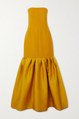 SOLACE London Ari Strapless Ruffled Crepe And Satin Gown - Mustard