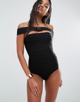 Missguided Bandage Bardot Swimsuit