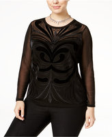 INC International Concepts Plus Size Embroidered Velvet Mesh Top, Only at Macy's