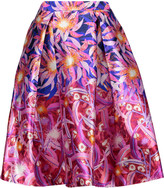 Peter Pilotto Pleated printed silk-crepe skirt
