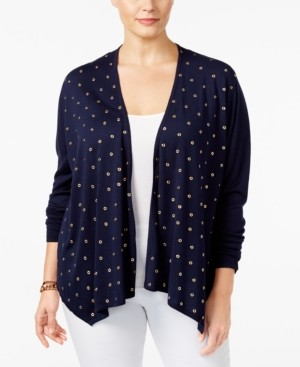 Belldini Plus Size Embellished Open-Front Cardigan