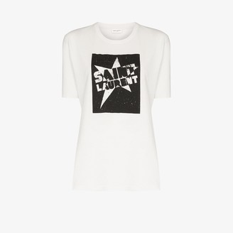 Saint Laurent star logo print cotton T-shirt