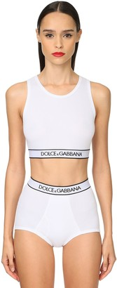 Dolce & Gabbana Logo Band Cotton Jersey Sports Bra