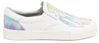 Amiri Skeleton Leather-applique Slip-on Canvas Trainers - White Multi