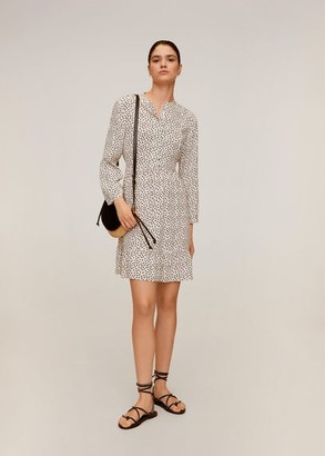 MANGO Printed short dress off white - 2 - Women
