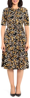London Times Printed Fit & Flare Dress