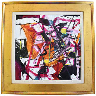 One Kings Lane Vintage Juan Guzman - Abstract Painting - orange/pink/lavender/yellow; frame, gold