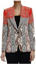 Etro Blazer Jacket Peaked Lapels Cady With Cachemire Print