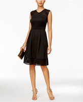 Sandra Darren Petite Illusion Stripe Fit & Flare Dress