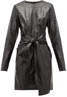 MSGM Crocodile-effect Faux Leather Mini Dress - Womens - Black
