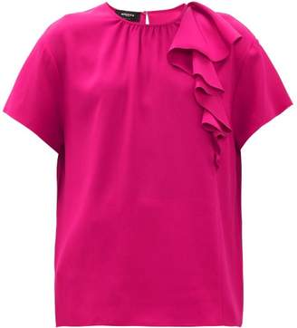 Rochas Pedra Envers Ruffle Trim Satin Top - Womens - Fuchsia