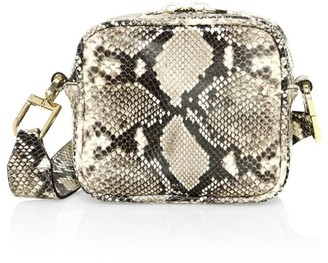 DeMellier Small Athens Snakeskin-Embossed Leather Crossbody Bag