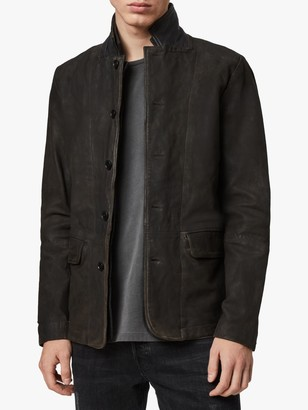 AllSaints Survey Brushed Leather Blazer, Anthracite Grey