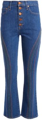 Alice + Olivia Amazing Rainbow Stitch High Waist Flare Jeans