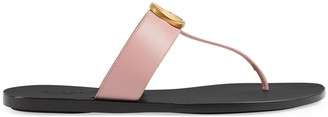 Gucci Women's leather thong sandal with Double G