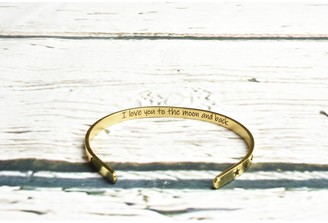 5mm Solid Stainless Steel Inspirational Cuffs by Pink Box I love you to the moon Gold