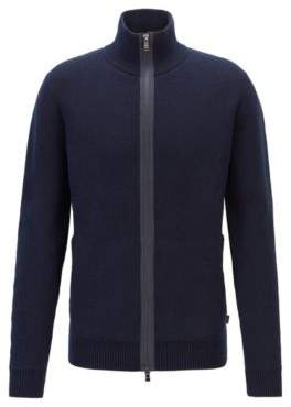 Double-faced wool jacket with exposed zipper tape