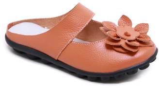 Rumour Has It Women's Mules Orange - Orange Floral Strappy Leather Mule - Women