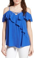 BP Women's Ruffle Cold Shoulder Top
