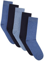 Yours Clothing BadRhino Plus Size Mens Plain 5 Pack Socks Stretchy Ribbed