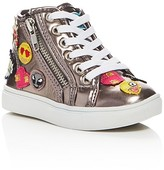 Steve Madden Girls' Emoji Metallic High Top Sneakers - Toddler