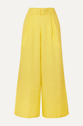 Faithfull The Brand Lena Belted Linen Wide-leg Pants - Yellow