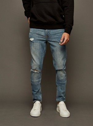 Topman Mid Wash Ripped Stretch Skinny Fit Jeans
