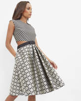 Ted Baker Stripe And Circle Cut-out Dress Black
