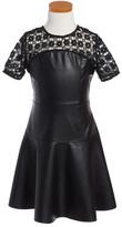 Ella Moss McKenzie Lace & Faux Leather Dress (Big Girls)