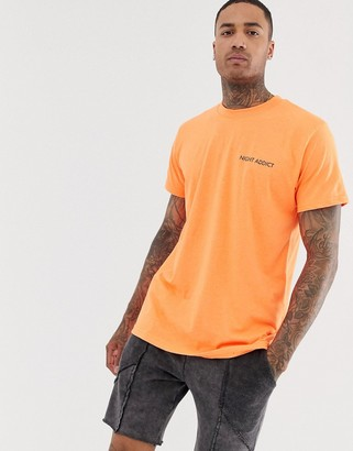 Night Addict oversized neon orange t-shirt