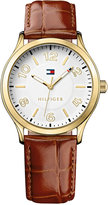 Tommy Hilfiger Women's Brown Croc-Embossed Leather Strap Watch 38mm 1781602