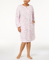 Miss Elaine Plus Size Printed Knit Snap-Front Robe