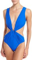 Jets Appearances Draped Plunging One-Piece Swimsuit, Blue