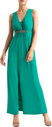 Halston Jewel Waist Crepe Gown
