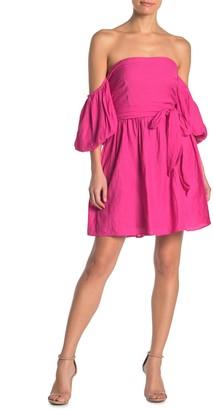 Do & Be Off-the-Shoulder Tie Waist Mini Dress