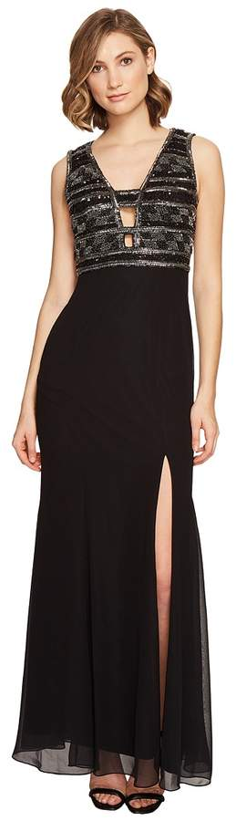 Adrianna Papell V-neck Bead Bodice Gown Women's Dress