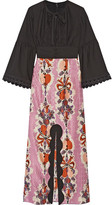 Anna Sui Hearts Garland Twill And Silk And Cotton-blend Jacquard Maxi Dress - Black