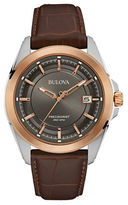 Bulova Precisionist Two-Tone Stainless Steel Brown Leather Strap Watch, 96B267