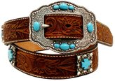 Ariat Western Belt Womens Cross Concho Stones M Brown A1521644
