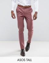 Asos Tall Wedding Skinny Smart Pant In Pink 100% Merino Wool