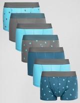 Asos Trunks With Polka Dot Print 7 Pack