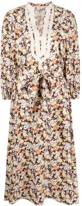 Tory Burch Floral Flared Midi Dress