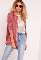 Missguided Longline Velvet Bomber Jacket Pink