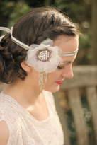 Shim Sham Beaded Flower Headband With Tassels