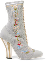 Fendi Embroidered Stretch-knit Ankle Boots - Light gray