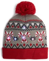 Capelli of New York Junior Women's 'Candy Cane' Led Beanie - Grey