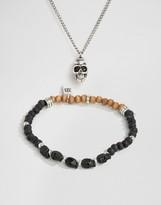 ICON BRAND Skull Necklace & Bracelet 2 Pack