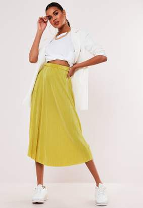 Missguided Yellow Plisse A Line Midi Skirt